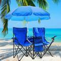 2 Pcs Beach Camping Chair Anti-UV Umbrella Fishing Camping Chair Outdoor 2-Seat Folding Stool Beach Leisure Lounge Chair