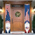 """4th of July Porch Signs, Independence Day Door Banners, Patriotic Gnomes American Flag Wall Hanging Porch Banners 12"""" x 72"""" Patriotic Decorations for Memorial Day, Independence Day, Labor Day, Veteran"""