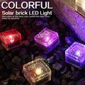 ZDMATHE Solar Light Solar Ice Cube Light Brick Rock Light Frosted Glass Landscape LED Light Garden Path Terrace Outdoor Decoration-Blue