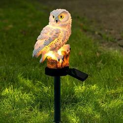 Owl Solar Powered Outdoor LED Garden Light, Solar Night Lights Owl Shape Solar-Powered Lawn Lamp - Waterproof, Energy Saving (White)