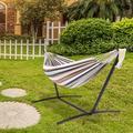 Firlar Outdoor hammock 9 feet black steel pipe hammock frame with 200*150 cm polyester cotton hammock four red strip natural rope iron hammock set