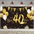 40th Birthday Decorations Supplies, Extra Large Fabric Black Gold Cheers to 40 Years Banner Sign 40th Birthday Party Backdrop Background Banner for 40th Anniversary Party Decoration, 72.8 x 43.3