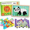LiKee Animals Wooden Jigsaw Puzzles Pattern Blocks Sorting and Stacking Toys Peg Puzzle Preschool Montessori Educational Toys for Toddlers Kids Boys Girls Age 3+ Years Old (32 Pieces & 8 Patterns