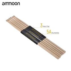 ammoon 3 Pair of 5A Wooden Drumsticks Drum Sticks Fraxinus Mandshurica Wood Drum Set Accessories