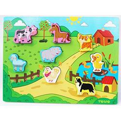 Wooden Animal Puzzles - Shinnington Farm Animals Peg Puzzles Inset Chunky Size - Wooden Jigsaw Puzzle for 18 Months Old - Baby Toddler First Puzzle as Early Learning Toys