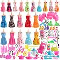 sotogo 125 pieces doll clothes set for barbie dolls include 20 pieces clothes party grown outfits and 105 pieces different doll accessories for little girl