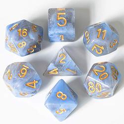 UDIXI 7PCS Polyhedral Dice, D&D Dice, Sparkle Galaxy DND Dice Set- for Role Playing Dice Games as Dungeons and Dragons RPG MTG Table Games? (Blue&Gray)