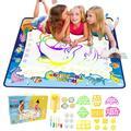 SHUININI Kids Water Drawing Mat Aqua Magic Doodle Mat Board Set Water Painting Pad Mat Gift Toy for Kids Toddlers Boys Girls (Ocean, 40 x 32 inch)
