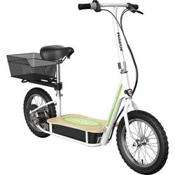 """Razor EcoSmart Metro Electric Scooter – Padded Seat, Wide Bamboo Deck, 16"""" Air-Filled Tires, Rear-Wheel Drive"""