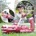 2PCS Gatling Automatic Bubble Machine, Electric Toy Gun Bubble Blower Bubble Guns, Bubble Maker, Summer Outdoor toy for kids Children's Day Gift(Pink+Blue)