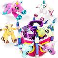 ToyHubPlay-act Unicorn Plush Castle House with 6 Unicorn Plush Toys Stuffed Animal Unicorn Gift for Girls