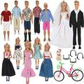 Ztweden 33Pcs Doll Clothes And Accessories For For Ken Doll And Barbie Doll Includes 20 Wear Clothes Shirt Jeans Suit And Wedding Dresses, Glasses Earphones Dog And Bike For 12 Boy Girl Doll