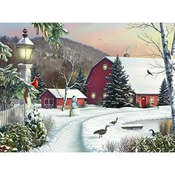 Bits and Pieces - 1000 Piece Jigsaw Puzzle - in The Still Light of Dawn - Snowy Barn with Birds, Winter Landscape Puzzle - by Artist Alan Giana - 1000 pc Jigsaw