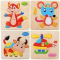 Wooden Puzzle Educational Developmental Baby Kids Training Toy Cartoon Animal Jigsaw