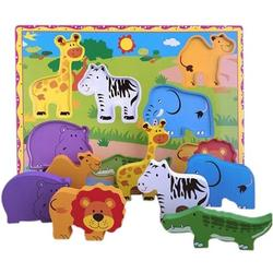 LNGOOR Wooden Animals Blocks Cube Puzzles for Kids - Wooden Cube Jigsaw Puzzles 7 Wooden Cubes Blocks 7 Wild Animals Pictures in a Wooden Box - Wooden Toys Gift for 1-2-3Years Old
