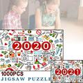 Unique Commemorative Jigsaw, Jigsaws Puzzles Quarantine 2020, Happy New Year 2021, 1000Pcs Puzzles for Adult Children-DIY Educational Games Toys, Christmas & Home Decorations (29.5x19.7'')