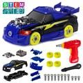 Take Apart Racing Car Toys with Drill Tools STEM 26 Pieces Racing Car Toy Kit Vehicle Assembly Set with Lights & Engine Sounds Building Your Own Car Toy Set Gifts for Kids Boys & Girls