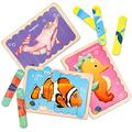 SYNARRY Animal Wooden Jigsaw Puzzles for Toddler Pattern Blocks Sorting and Stacking Toys Peg Puzzles Montessori Educational Preschool Learning Toys for Kids Age 3+ Years Old (8 Patterns & 32 Pie