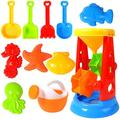 Beach Sand Toys For Kids - 11 PCS Sand Castle Toys for Beach, Snow Toys Sandbox Toys with Water Wheel, Watering Can, Shovels, Rakes, Animal Castle Molds in Mesh Bag, Kids Outdoor Toys