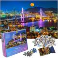 Puzzles for Adults 1000 Piece Stunning Jigsaw Puzzles 1000 Pieces for Adults Challenging, Expertly Cut 1000 Piece Puzzles for Adults + Bonus 1:1 Poster Night City 27.5 in x 19.6 in