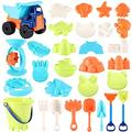 Beach Sand Toys For Kids - 32 PCS Sand Castle Toys for Beach, Snow Toys Sandbox Toys with Truck, Water Wheel, Sand Bucket with Sifter, Shovels, Rakes, Animal Castle Molds in Mesh Bag,Kids Outdoor Toys