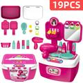 19Pcs Kids Kitchen Play Toys, Mini Kitchen Set with Realistic Fruit Vegetable Simulation, Indoor Games, Cooking Utensils Accessories