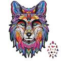 Wooden Fox Jigsaw Puzzles, 216 Pieces, Laser-Cut, Unique Gift Idea for Adults and Kids, Animal Shaped Puzzles, Fox Puzzle Art, Colorful Wooden Puzzles, Family Play Game Collection