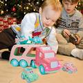 5 IN 1 Cartoon Vehicles Playset Transport Car Carrier Truck with Sounds & Lights Cars Toys for 1 2 3 4 Year Olds Toddler Kids Girls 5 Mini Macaron Pink Friction Power Car