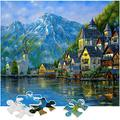 Jigsaw Puzzle 1000 Piece for Adults - 1000 Piece Puzzle Illustrated Art Puzzle - Intellectual Games for Adults and Family Teens?27'' x 20''(Snow Mountain Town)
