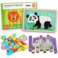 Animals Wooden Jigsaw Puzzles Pattern Blocks Sorting and Stacking Toys Peg Puzzle Preschool Montessori Educational Toys for Toddlers Kids Boys Girls Age 3+ Years Old (32 Pieces & 8 Patterns)