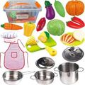 FUNERICA Toddler Play Kitchen Accessories Set, Stainless-Steel Toy Pots and Pans, Kids Apron & Chef Hat Set, Play Cut Vegetables with Knife, Play Kitchen Utensils, and Beautiful Storag