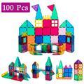 DODOING 100 Piece Transparent Rainbow 3D Magnetic Building Geometric Tiles Educational STEM Toy Set Magnetic Building Block Tile Toy Set