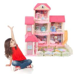 TMISHION Pretend Play Doll House,DIY Doll House Toy,Children Dollhouse DIY Pretend Play Doll House Assembly Building Toys with Accessories