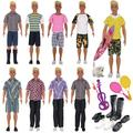 EuTengHao 25Pcs Doll Clothes and Accessories for Ken Dolls Includes 16 Different Wear Clothes Shirt Jeans,4 Pairs of Shoes for Barbie Ken Doll, Dog, 2 Tennis Racket, Violin and Surfboard S
