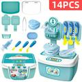 14Pcs Kids Kitchen Play Toys, Mini Kitchen Set with Realistic Fruit Vegetable Simulation, Indoor Games, Cooking Utensils Accessories