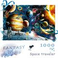 Jigsaw Puzzles for Adults Kids, 1000 Pieces Space Astronaut Puzzles with Poster, Cosmic Galaxy Grown up Floor Puzzles Educational Games Toys Gift