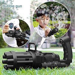 Soft Foot Bubble Gun,Gatling Bubble Machine Bubble Gun 8-Hole Bubble Blower Automatic Bubble Maker Machine Electric Bubble Gun Bubble Machine Toy for Toddler-Black