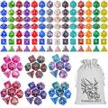 ESANDA DND Dice Set with a Big Black Drawstring Pouch, 140PCS Polyhedral Game Dice, 20 Complete Dice Sets of D4 D6 D8 D10 D% D12 D20 Compatible with Dungeons and Dragons DND RPG MTG Table Games