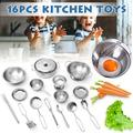 25pcs Stainless Steel kids Kitchen Cooking Utensils Mini Kitchen Tools for children cosplay playing and pretending