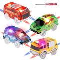 Tracks Cars Replacement Only, Light Up Magic Cars for Tracks Compatible with Glow in the Dark Toy Cars with 5 LED Flashing Lights for Most Race Tracks Only Toy Cars Track Car Accessories (4 Pack)