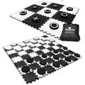 2-in-1 Giant Checkers & Tic Tac Toe Game 4ft x 4ft 100% High Density EVA Foam Mat & Pieces Extra Large Checker Discs with Jumbo Checkerboard & Yard Size Tic Tac Toss Set