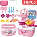 18Pcs Kids Kitchen Play Toys, Mini Kitchen Set with Realistic Fruit Vegetable Simulation, Indoor Games, Cooking Utensils Accessories