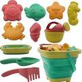 Beach Toys for Kids - Sand Toys Set Includes Foldable Sand Bucket Shovel and Sand Rake Toys for Beach 10 PCS, Sandbox Toys Sandcastle Building Kit with Waterproof Net