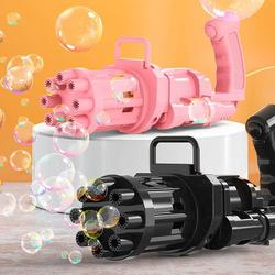 Bubble Gatling bubble gun, Gatling bubble machine 2021 cool toys and gifts, 8 hole large bubble machine, strong, requires 3 AA batteries, children's bubble gun, suitable for summer outdoor activities