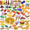 135 Pieces Play Kitchen Accessories Set, Kids Toddlers Toys, Play Food Set, Market Educational Pretend Play, Play Food Vegetables, Kids Kitchen Playsets, Toy Food for Kids