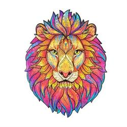 SUNYUAN Wooden Puzzle Lion Unique Irregular Shape Jigsaw , Extra Thick Wooden Puzzles for Adults, VCOMO Large Piece Puzzle for Kids and Teens, Animal Shape Puzzles, Birthday Gift Puzzles, 123 Pieces,