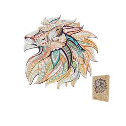 VANLOFE Wooden Jigsaw Puzzles Decorative Animals Small Size Puzzle Unique Shaped Jigsaw Pieces for Adults and Kids Mysterious Lion Puzzle Shaped Wooden Puzzle Animal Head Puzzle