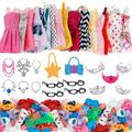 37/Set Doll Accessories =10 Pcs Doll Clothes Dress + 4 Glasses + 6 Necklace + 2 Bags + 5 Crowns +10 Pairs Shoes for Barbie Doll
