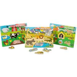 Melissa & Doug World of Animals Wooden Peg Puzzles Set - Pets, Farm, and Safari