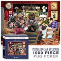 Pug Jigsaw Puzzle - Pug Puzzles for Adults 1000 Piece - Dogs Playing Poker